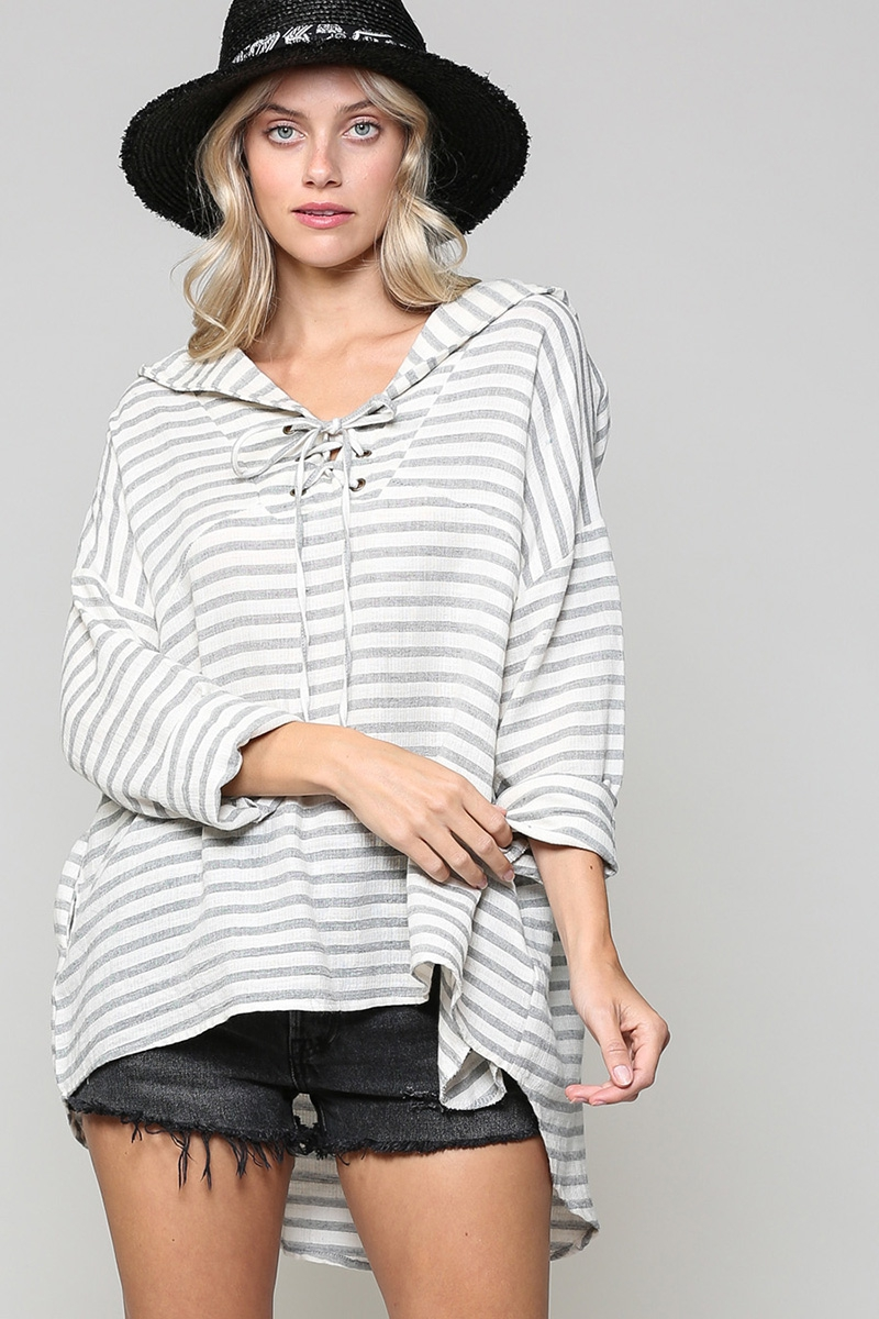 STRIPED HOODIE WITH POCKETS - orangeshine.com