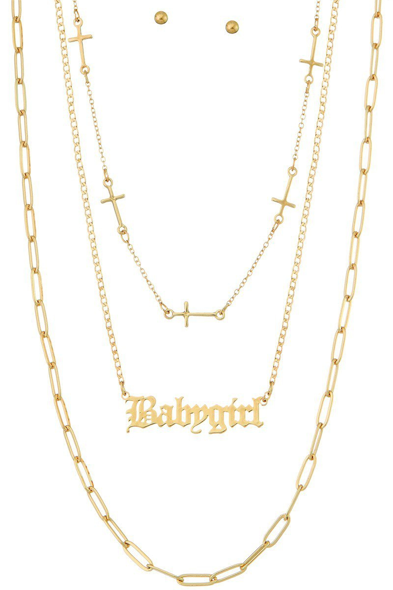 Three-layer necklace BABY GIRL - orangeshine.com