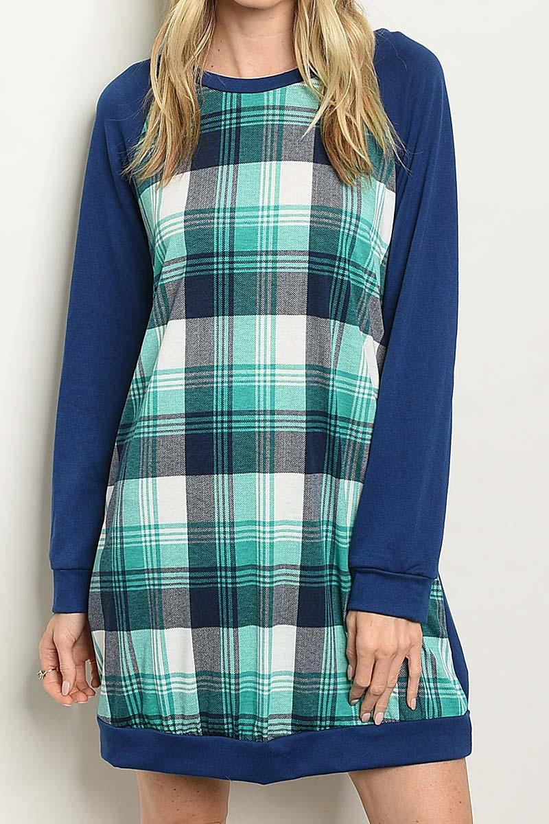 COLOR BLOCK CHECKERED TUNIC DRESS - orangeshine.com