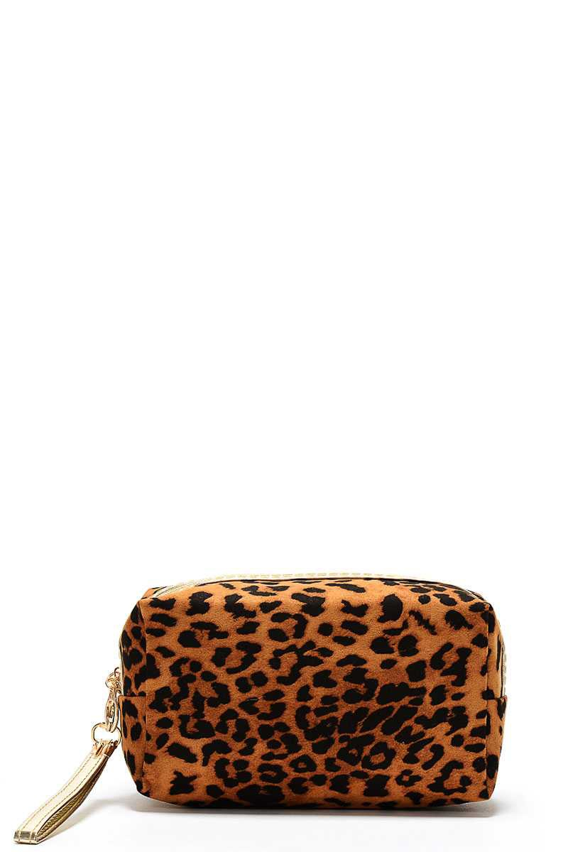 LEOPARD COSMETIC BAG WITH STRAP  - orangeshine.com