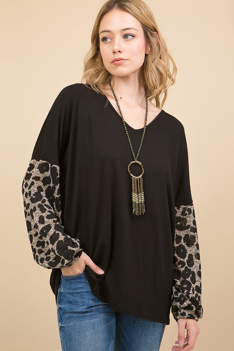 LEOPARD PRINT PUFF SLEEVE TOP - orangeshine.com