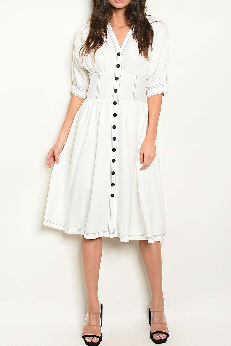 V NECK BUTTON DOWN PUFF SLEEVE DRESS - orangeshine.com
