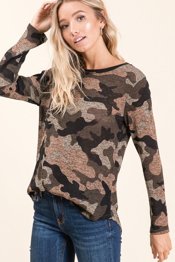 KNIT CAMO PRINT LONG SLEEVE TOP - orangeshine.com