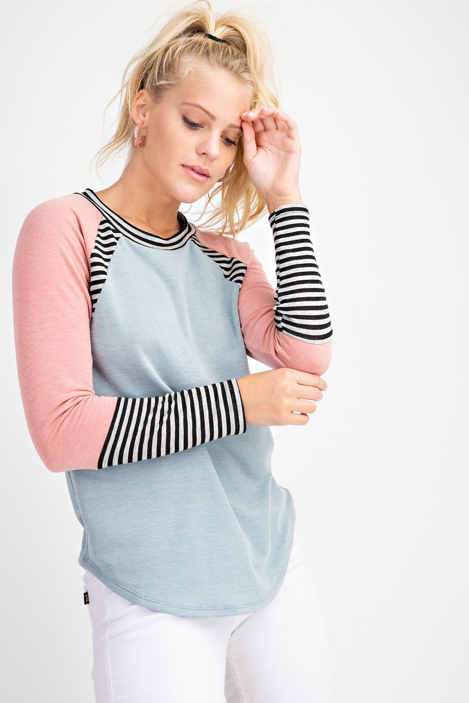 RAGLAN COLOR BLOCK FRENCH TERRY TOP - orangeshine.com