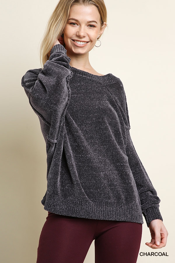 Chenille Asymmetrical Sweater - orangeshine.com