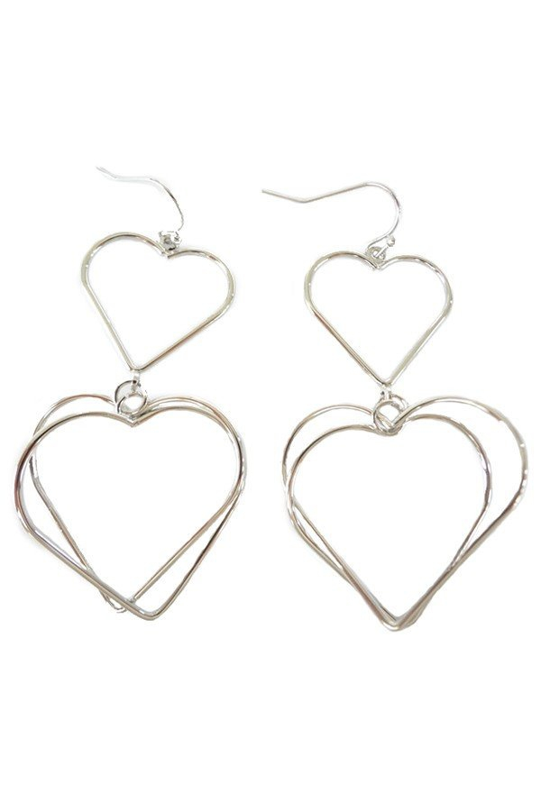 Heart linked drop earrings - orangeshine.com