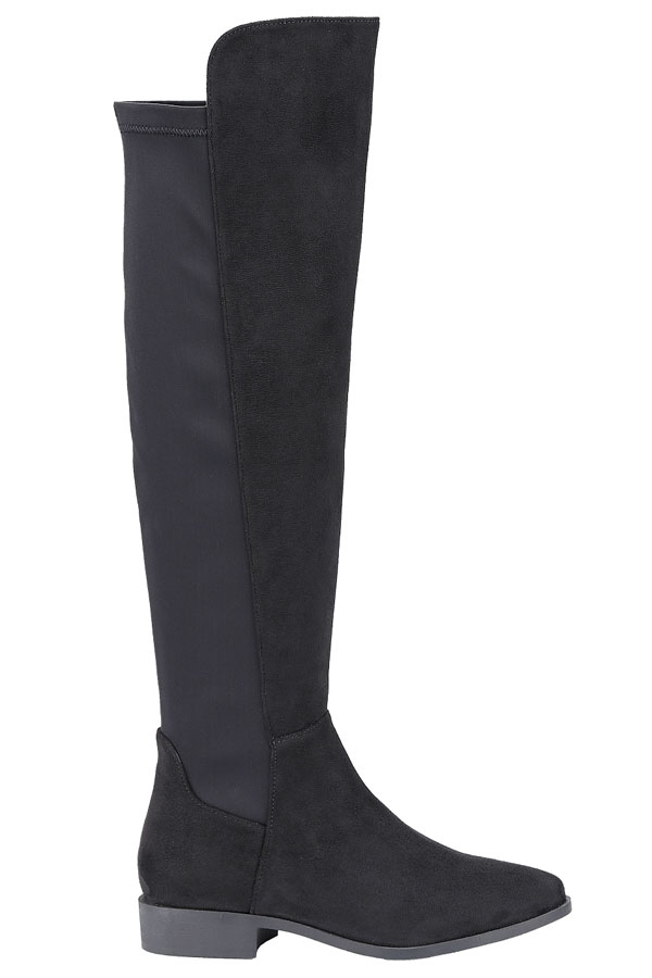 Round Toe Stacked Heel Thigh Boots - orangeshine.com