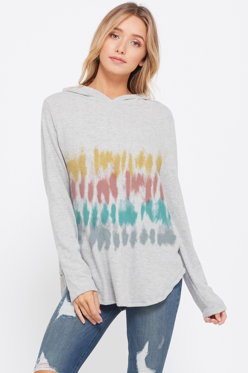 Multi color tie dye long hoodie top - orangeshine.com