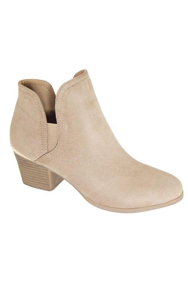 Stacking Heel V Cut Round Toe Bootie - orangeshine.com