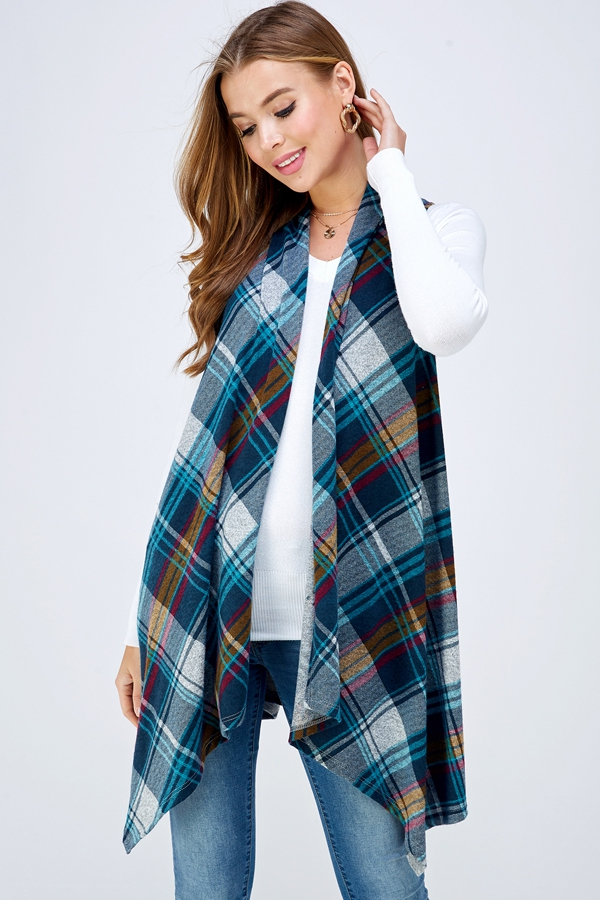 PLAID ASYMMETRICAL IVEST CARDIGAN  - orangeshine.com