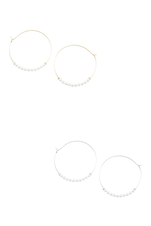 PEARL HOOP EARRINGS - orangeshine.com