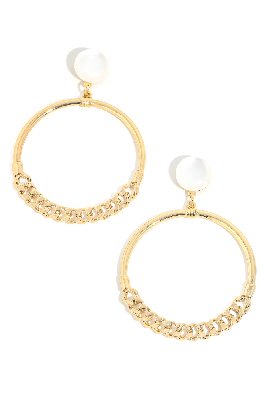 Half Cuban Link Hoop Drop Earrings - orangeshine.com