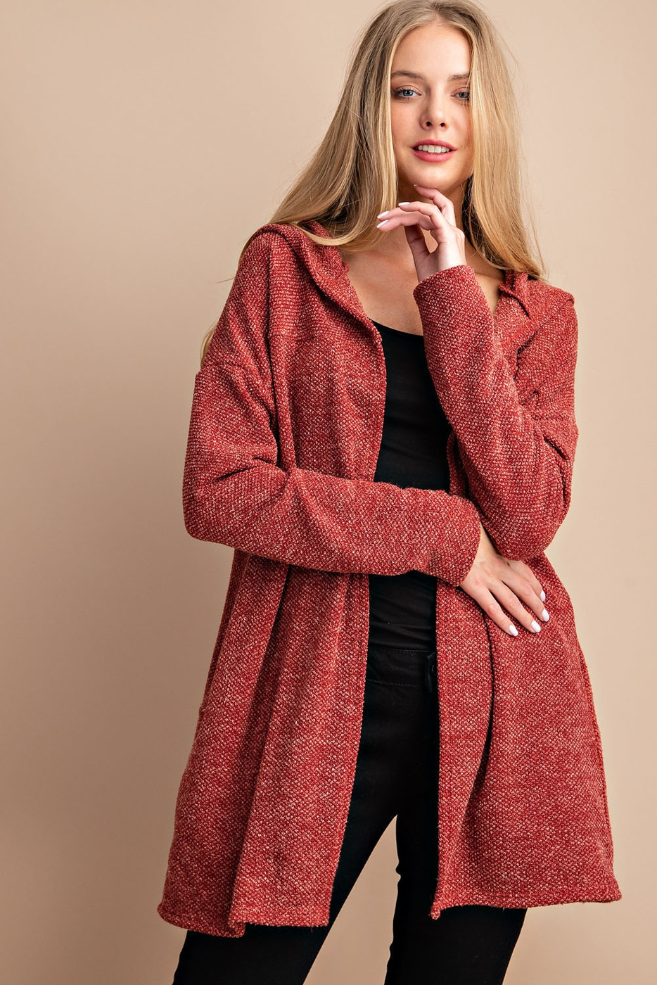 SWEATER KNIT OPEN CARDIGAN - orangeshine.com