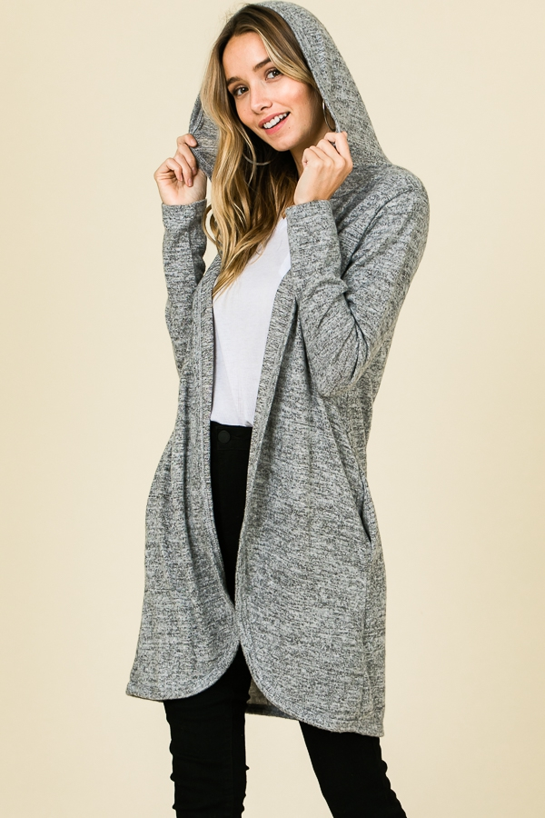 OPEN FRONT HOODED KNIT CARDIGAN  - orangeshine.com