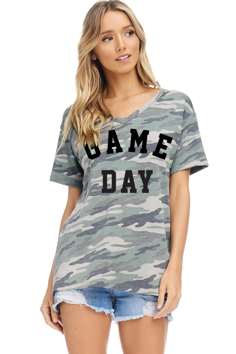 GAME DAY  GRAPHIC CAMO TOP - orangeshine.com
