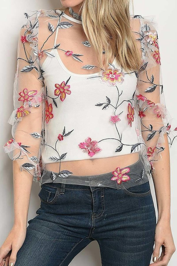 BOAT NECK FLORAL EMBROIDERED SHEER T - orangeshine.com