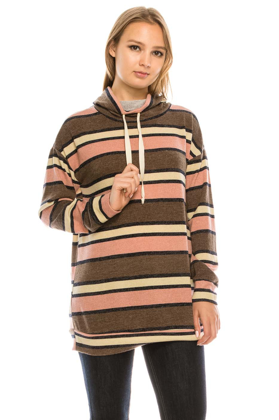 Stripe Drawstring Long Sleeve Top - orangeshine.com