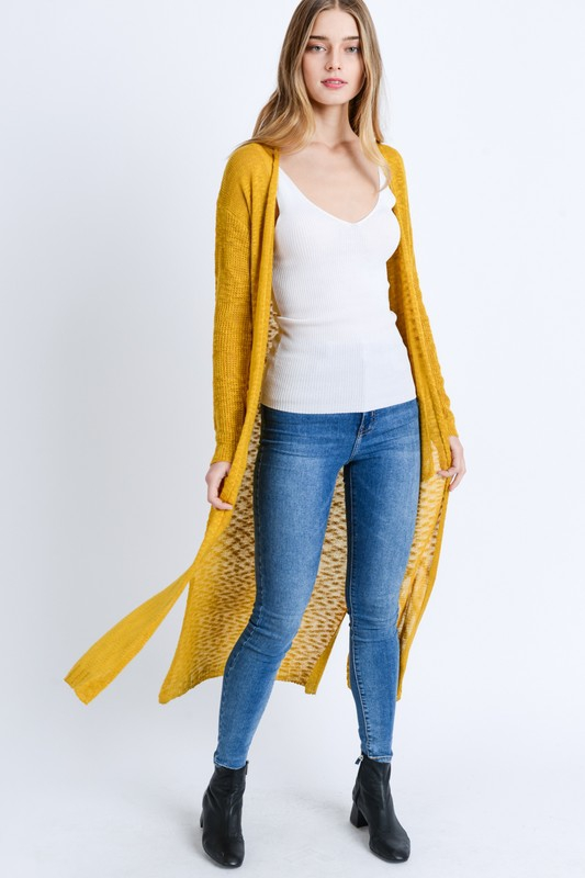 Knitted Solid Long Line Cardigan - orangeshine.com