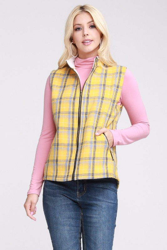 SHERPA FUR LINED WOVEN PLAID VEST - orangeshine.com