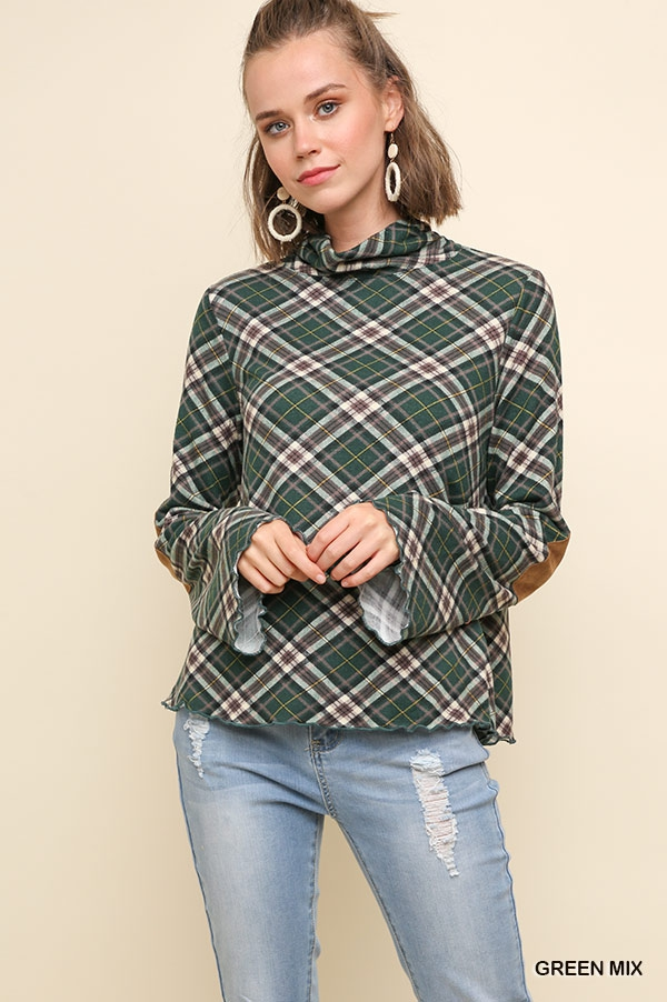 Plaid Mock Neck Top with Suede Elbow - orangeshine.com