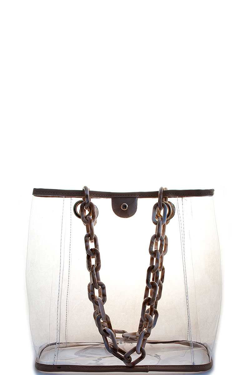 TRENDY CLEAR THICK CHAIN HANDLE TOTE - orangeshine.com