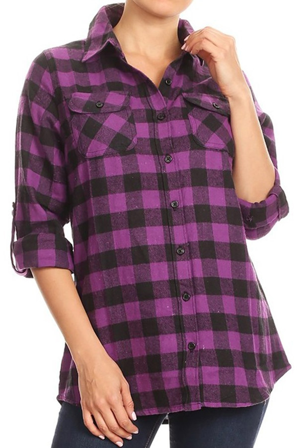 Plaid Button Up Flannel Shirt  - orangeshine.com