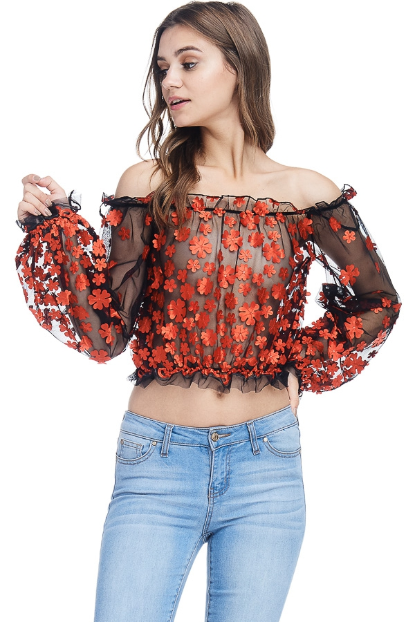 Off Shoulder Tessa Floral Mesh Top - orangeshine.com