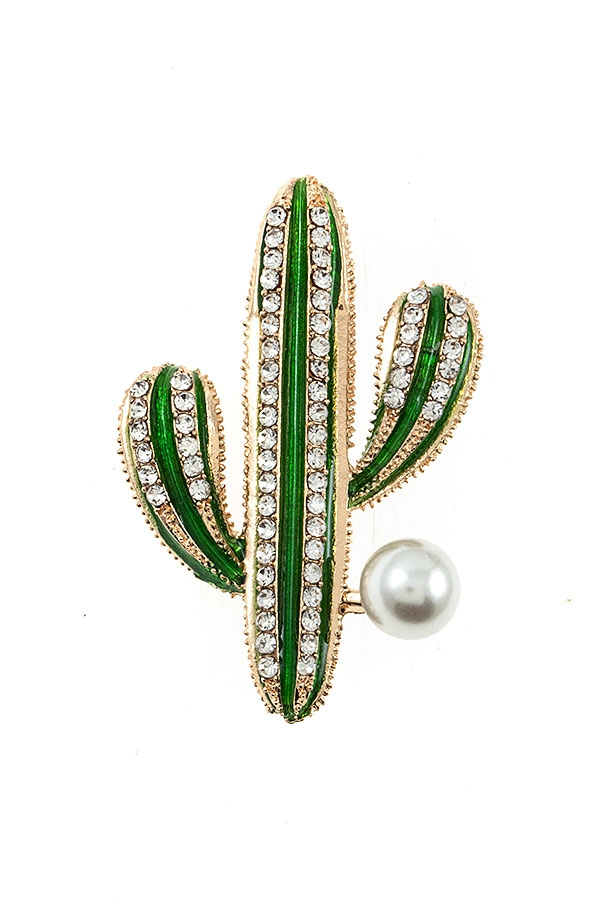 CACTUS RHINESTONE AND PEARL BROOCH - orangeshine.com