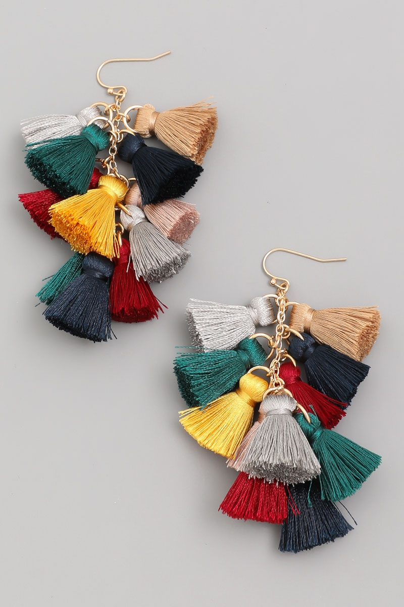 Multi Tassel Drop Earrings - orangeshine.com