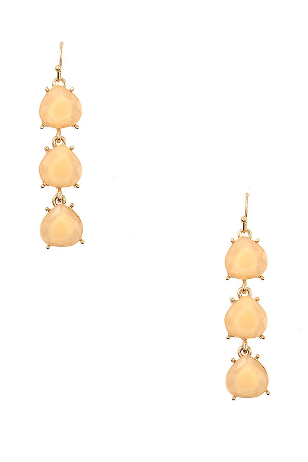FACETED FRAMED STONE DROP EARRING - orangeshine.com