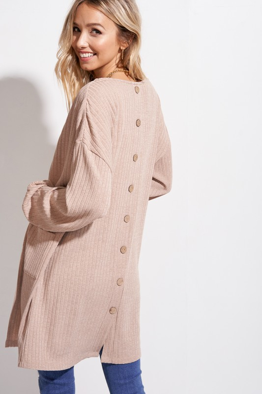 Ribbed Button Back Cardi - orangeshine.com