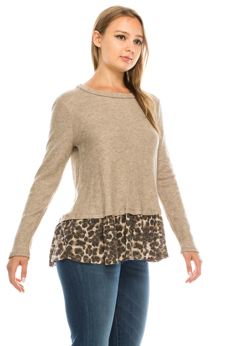 Animal Print Long Sleeve Top - orangeshine.com