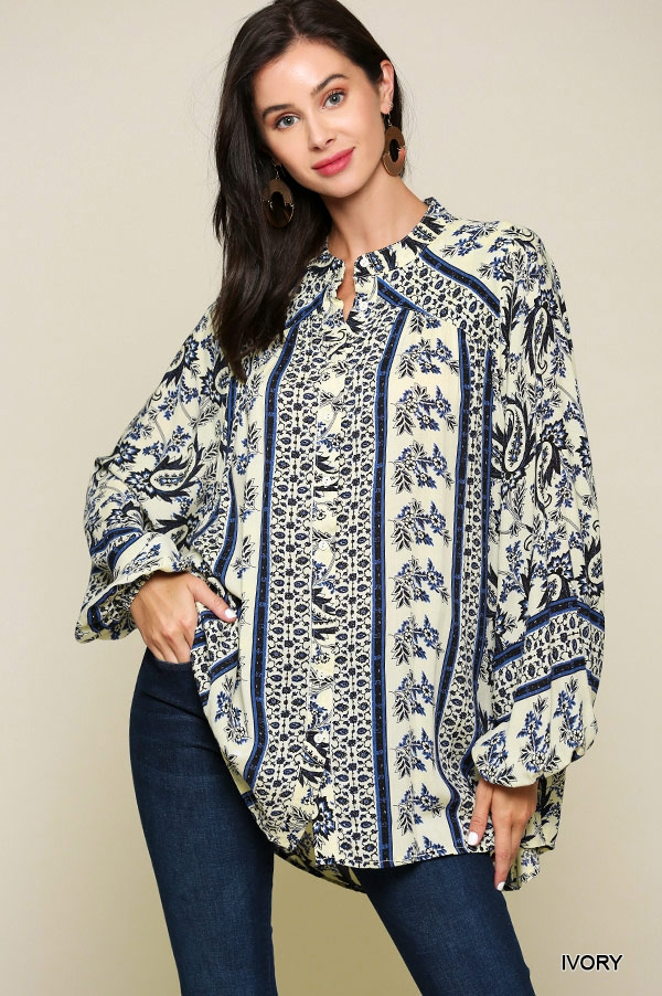Border Printed Button Down Tunic Top - orangeshine.com