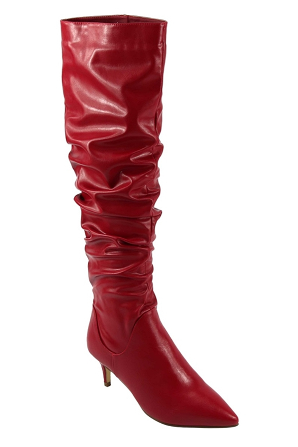 Pointed Toe Thigh High Heel Boots - orangeshine.com