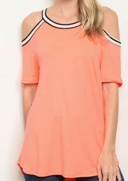 Cold Shoulder Contrast Tunic - orangeshine.com