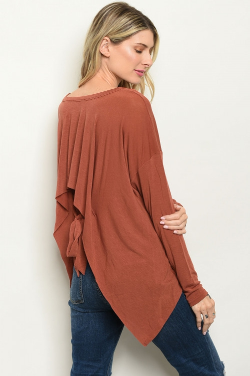 Long sleeve scoop neck knit TOP - orangeshine.com