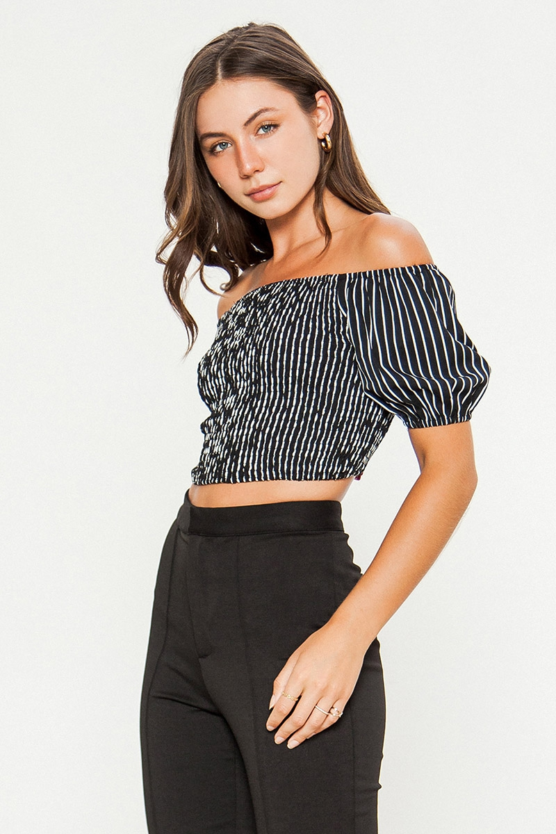 STRIPED OFF SHOULDER CROP TOP - orangeshine.com