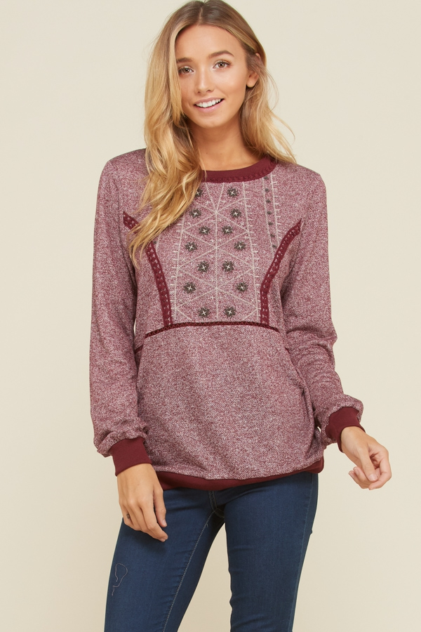 Long Sleeve Cuffed Embroidery Top - orangeshine.com