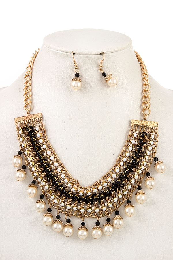 MULTI GEM PEARL DANGLE BIB NECKLACE  - orangeshine.com