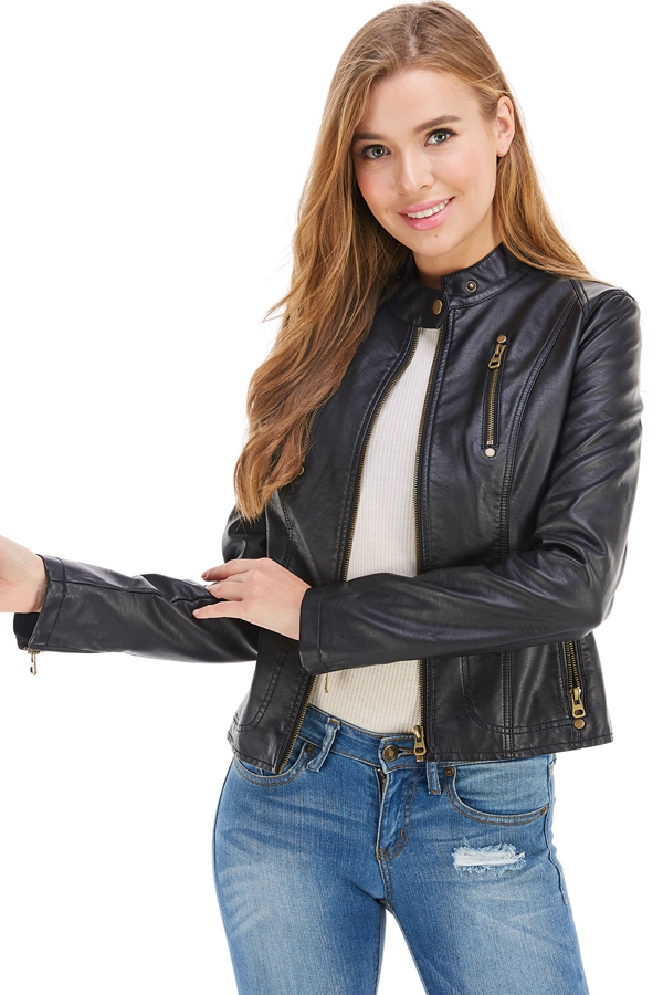 Faux Leather Motorcycle Jacket - orangeshine.com
