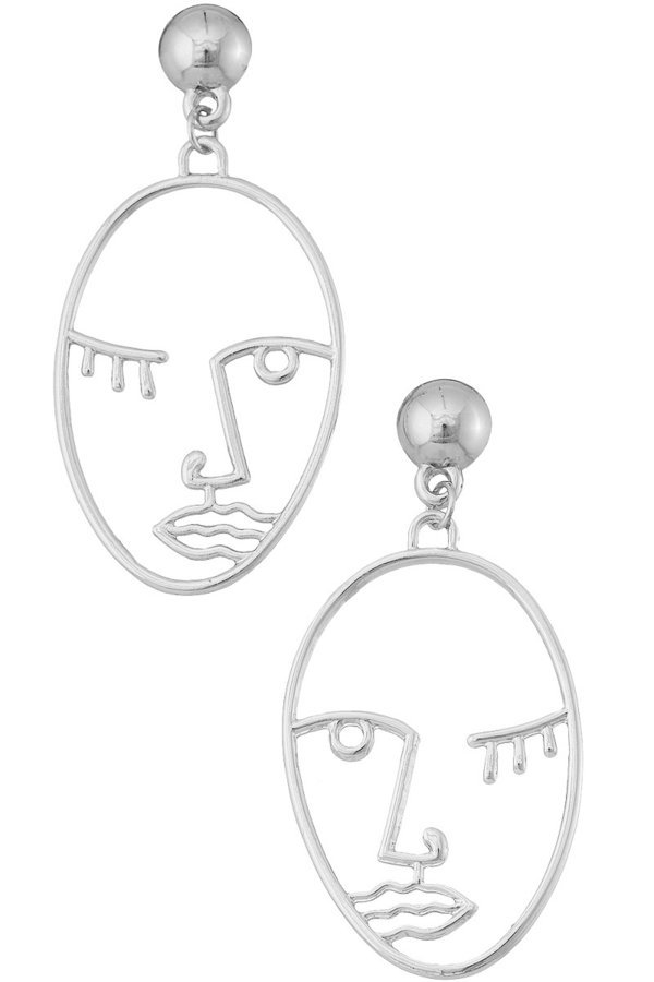Face silhouette drop earrings - orangeshine.com