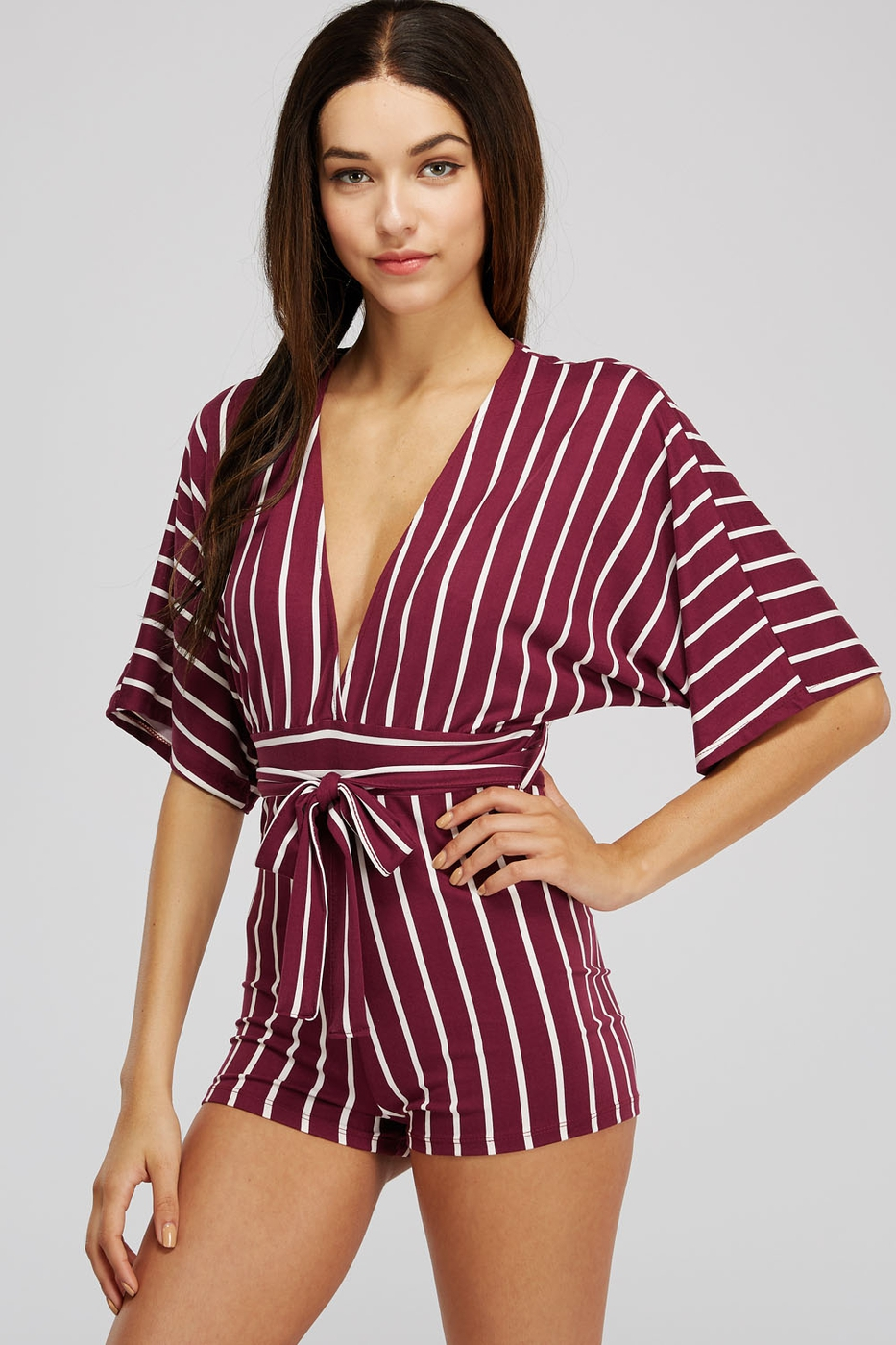 Dolman Sleeves Striped Romper - orangeshine.com