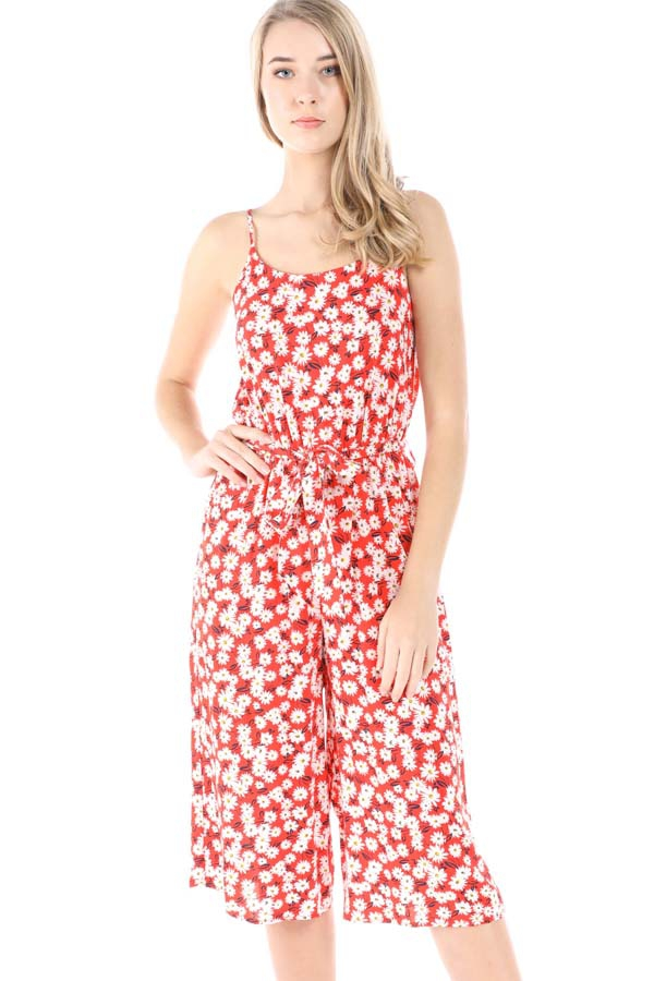 Flower Print Belted Jumpsuit - orangeshine.com