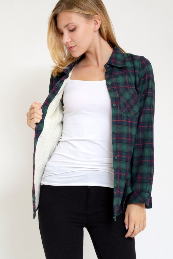 Plaid Shirt  with Fur Inside - orangeshine.com