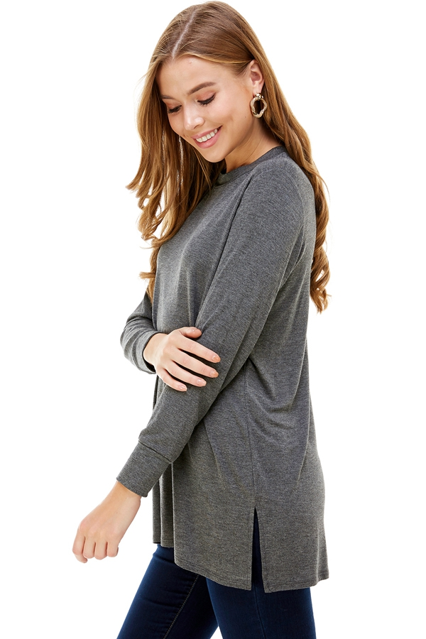 Long Sleeve Double Side Slit Tunic - orangeshine.com