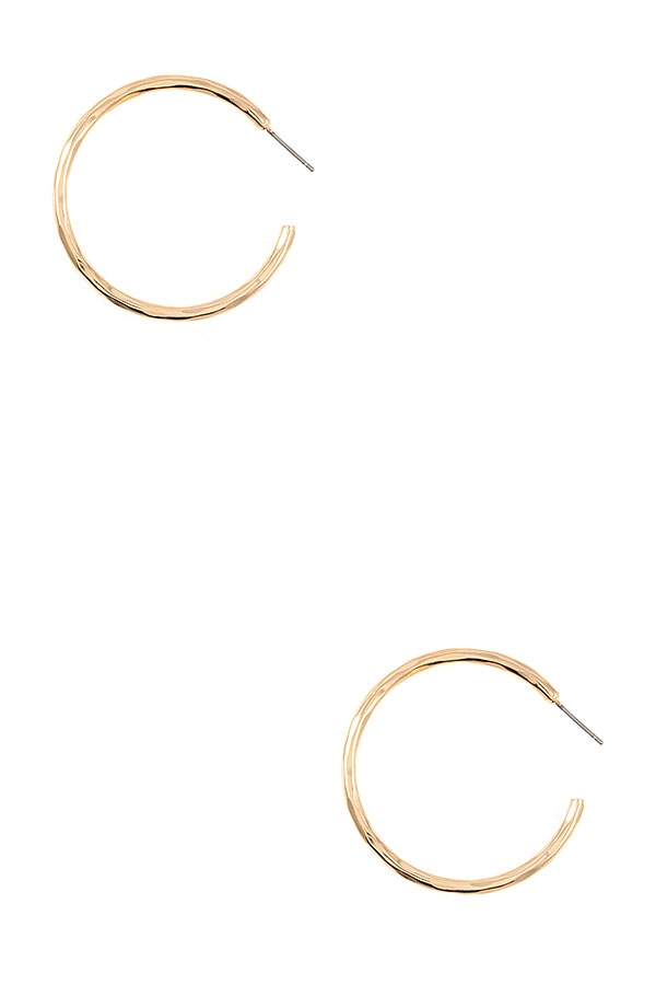 DIMPLED SEMI HOOP EARRING - orangeshine.com