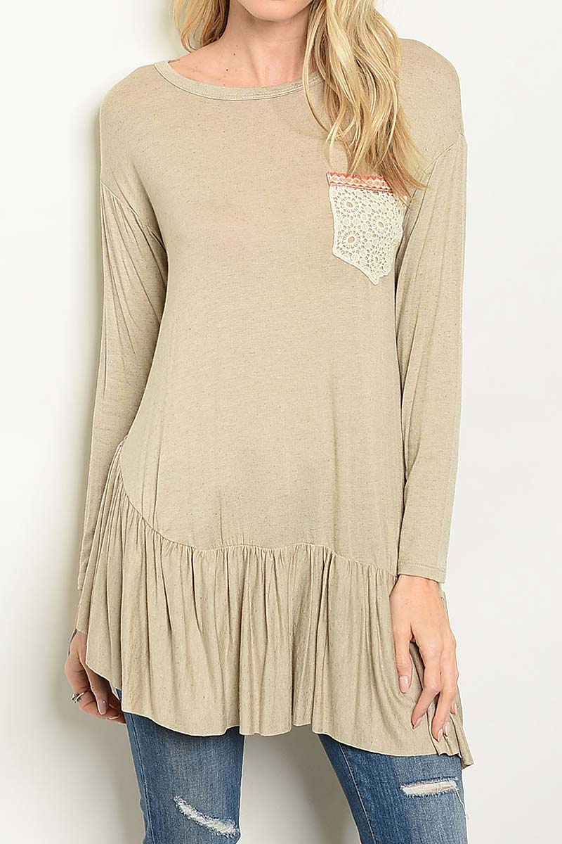 LACE POCKET TUNIC TOP  - orangeshine.com