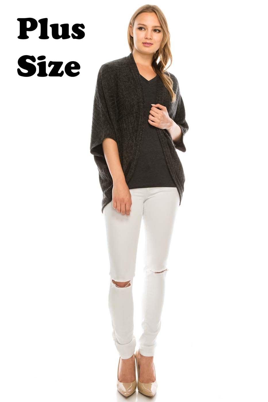 Plus Ribbed Open Front Cardigan - orangeshine.com