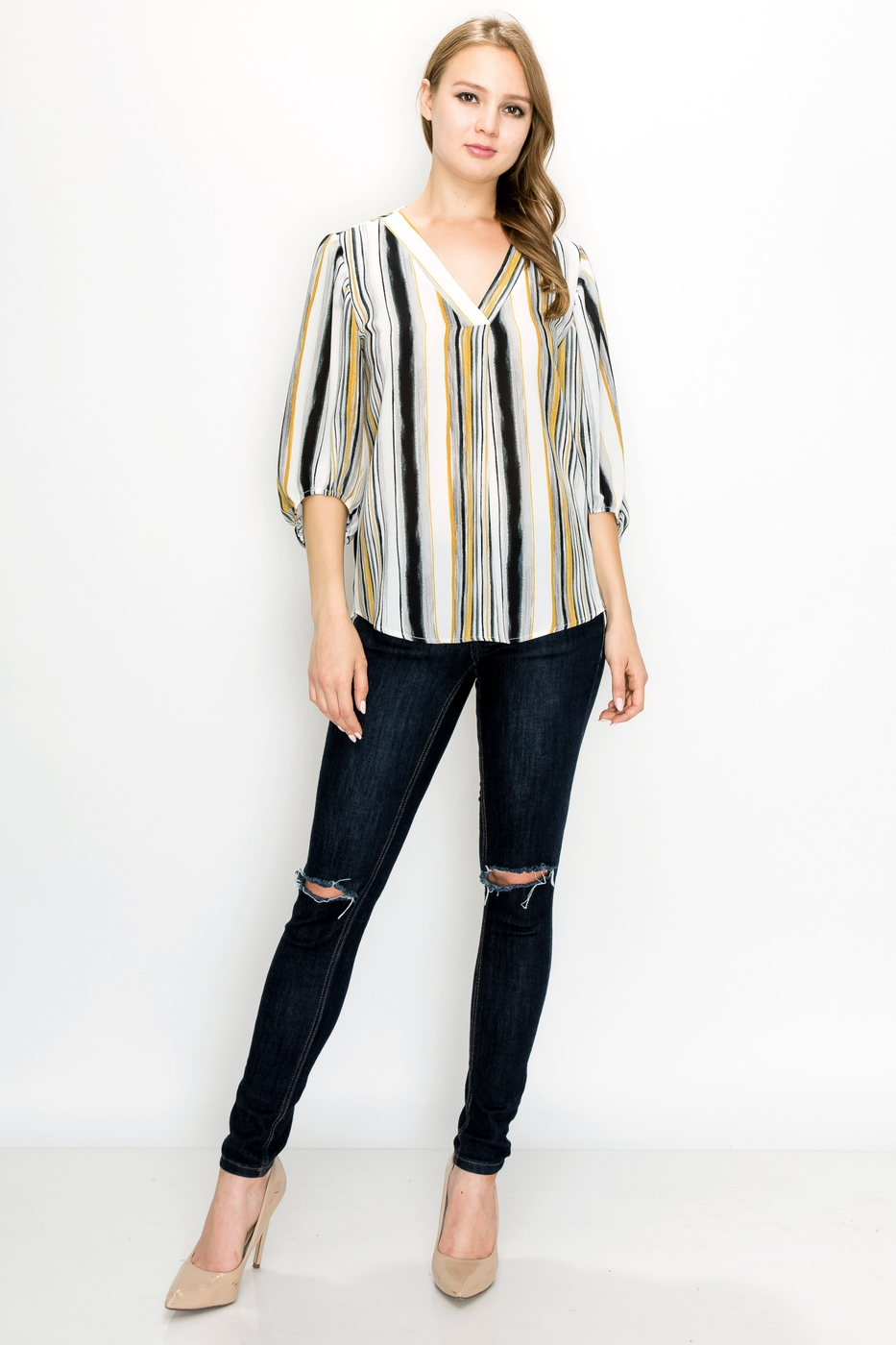 V Neck Stripe Blouse  - orangeshine.com
