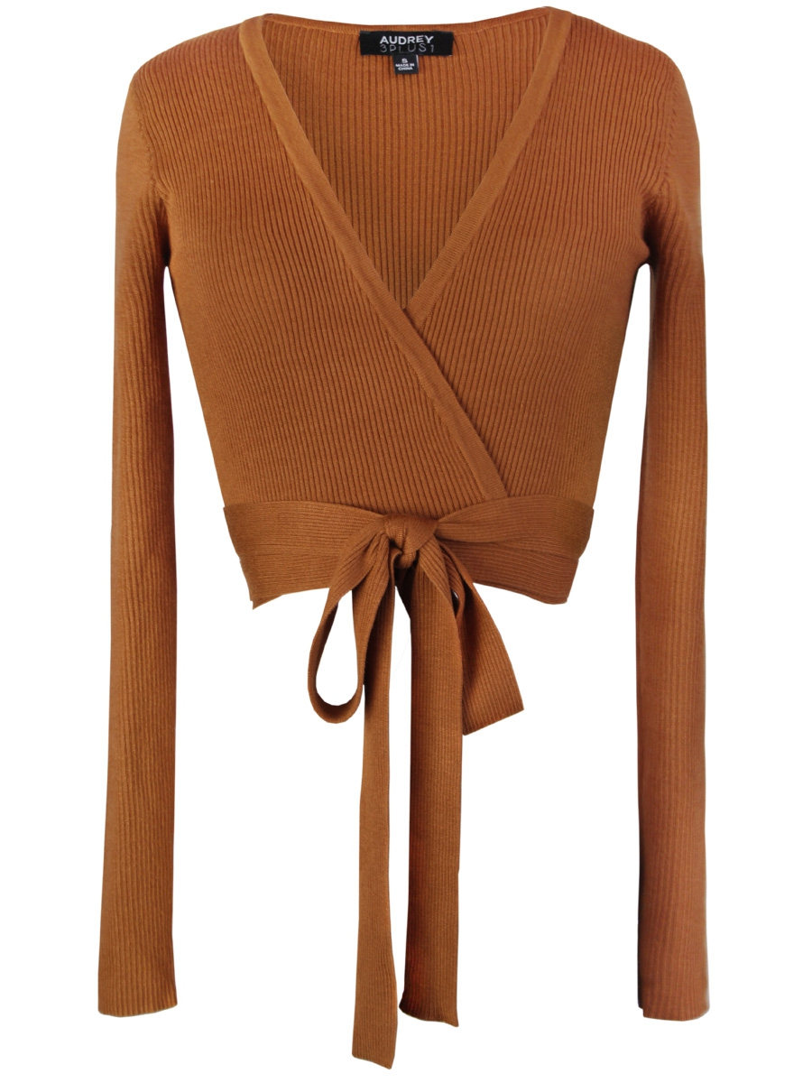 Knitted Wrap Me Around Long Slv Top - orangeshine.com